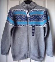 New Gap Kids Fair Isle Mockneck Full Zip Sweater Grey Size XL(12yrs) - $27.22