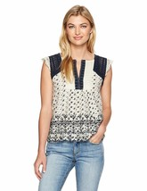Lucky Brand Cotton Embroidered Flutter Sleeve Top Natural Multi S - $39.99