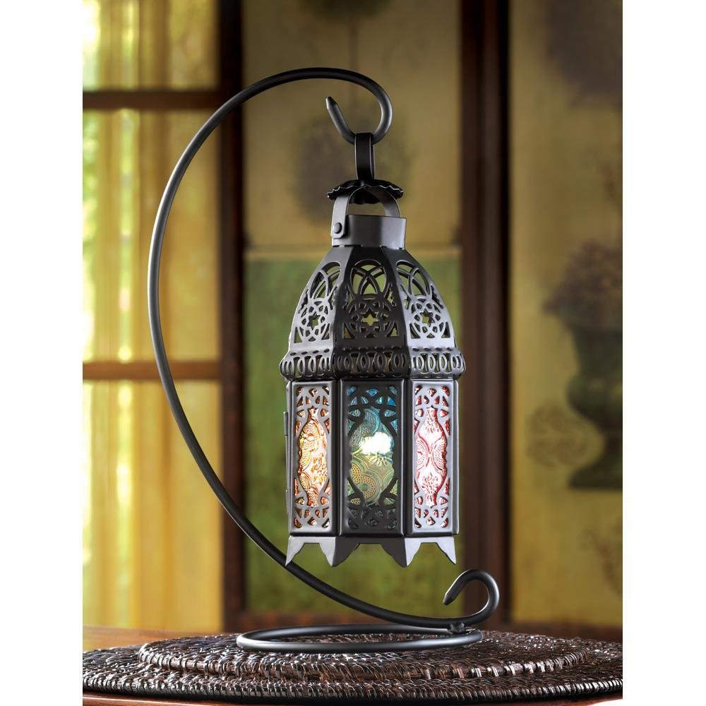 Standing Lantern, Rainbow Moroccan Glass Iron Outdoor Candle Lantern With Stand image 3