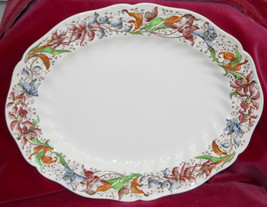 "ROYAL DOULTON TINTERN D 5609 SERVING PLATTER 11"" FLORAL BLUE GREEN VINTAGE - $30.28"