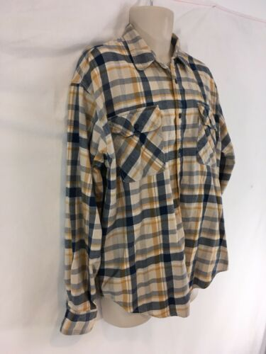 Levis Mens L Blue Yellow Plaid Hiking Camp Lightweight Cotton Flannel Shirt image 3