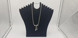 Vintage Prong Set Silver Tone All Rhinestone Necklace W/ Bow Tie Dangling - $19.32