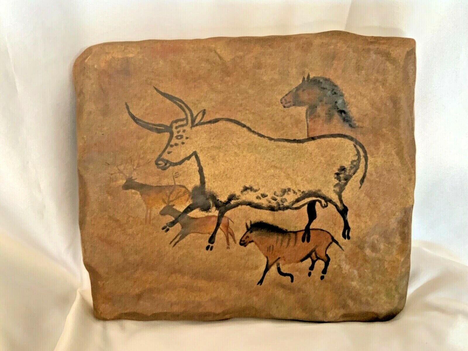 Bradford Exchange The Dawn of Man Running Bison and Deer Stone Tile Wall Plaque - $35.00