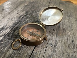 """Vintage Desk Brass Compass Navigation With Chain """"Be Strong and courageo... - $15.97"""
