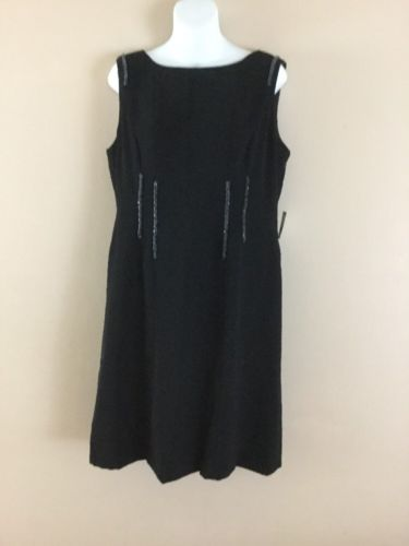 Primary image for NWT Womens ANNE KLEIN  LITTLE BLACK SHEATH Beaded Sleeveless Cocktail DRESS 12 L