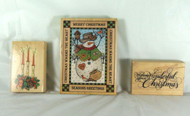 Three Christmas Winter Holiday Themed Stamps, Large Snowman, Candles, Ph... - $12.99