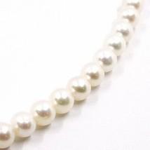 Collar, Cierre Ovalados Satinado Oro Amarillo 18K, Perlas Blancas 7-7.5 MM image 2