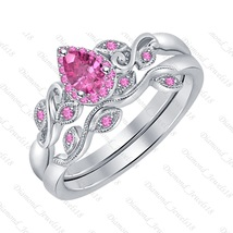 6x8mm Pear Cut  Pink Sapphire 14K White Gold Over Wedding Bridal Ring  for Women - $111.99+