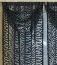 JCP Sheer Zebra Valance 30x29 Black One Valance Machine Washable - $9.89