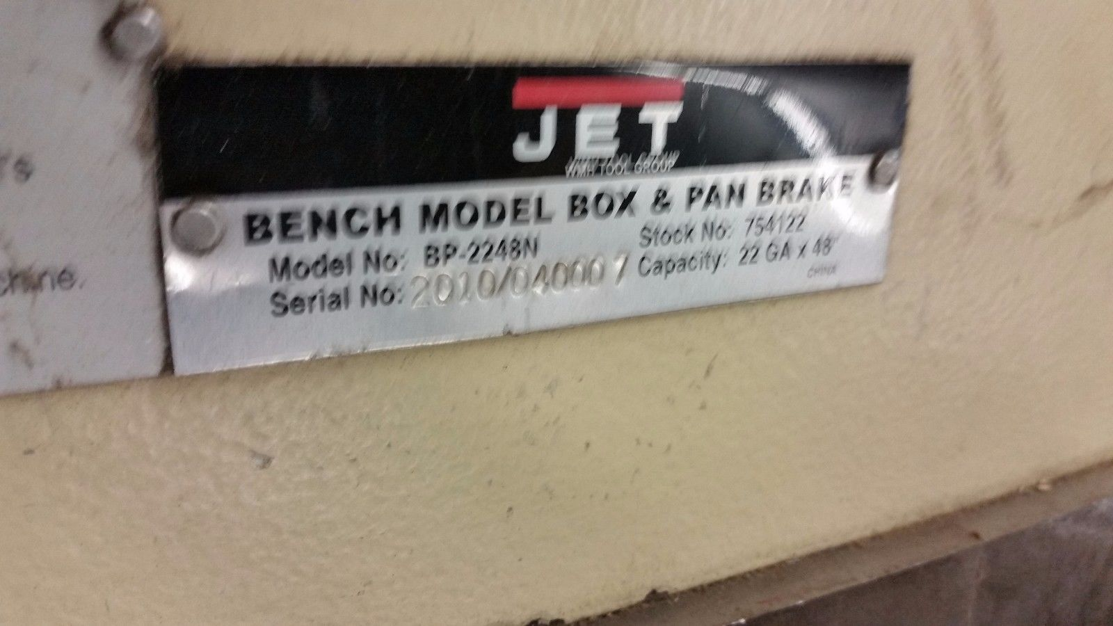 "48"" x 22 Gauge Bench Model Box & Pan finger Brake JET bp-2248n  754122"