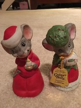 2 1980 Jasco Bisque Porcelain Mouse Mice Christmas Critter Bell Painted ... - $15.83