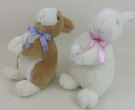 "Realistic Bunnies 2pc Lot Easter Bunny Rabbit 12"" Plush Stuffed Toys Goffa - $22.72"