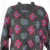 Vintage Woolrich Sweater L Gray Pink Purple Green Flowers Diamond Pattern - $49.45