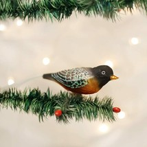Old World Christmas Robin Red Breasted Bird CLIP-ON Glass Xmas Ornament 18088 - $11.88