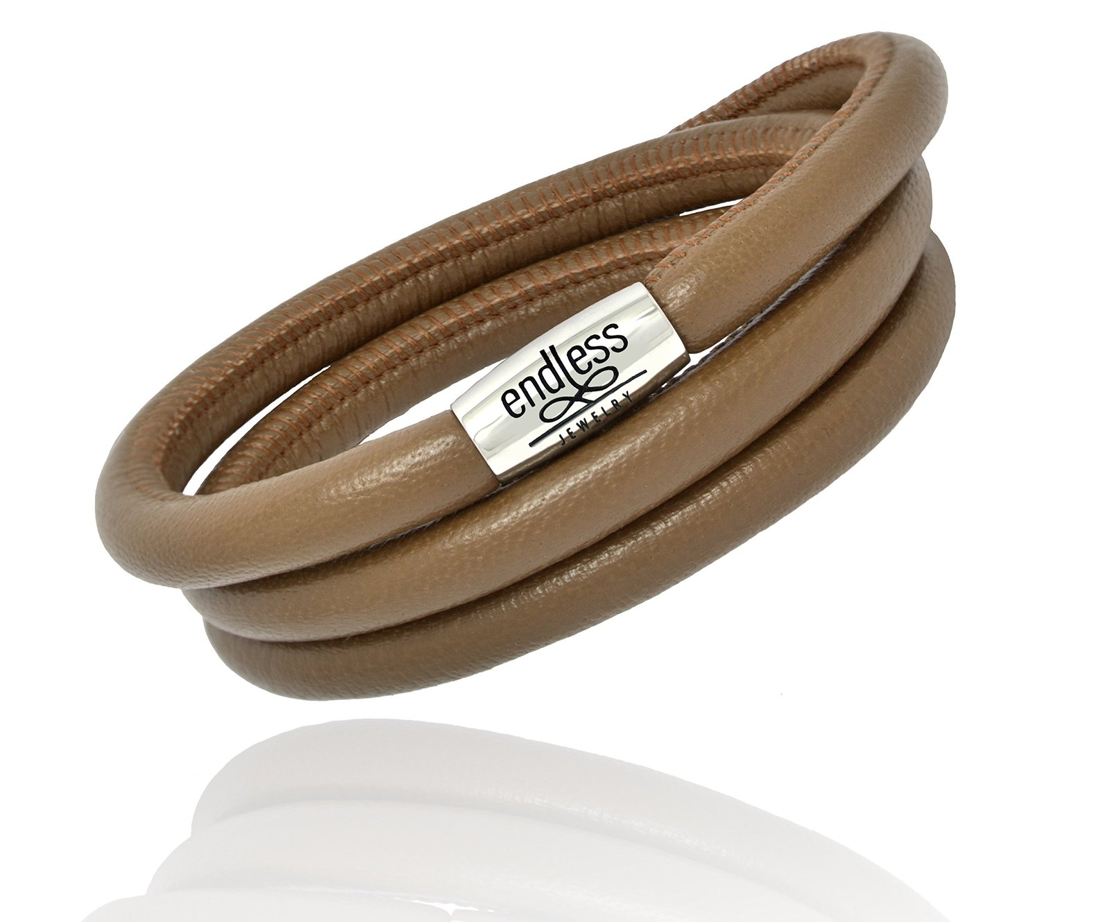 Endless Jewelry Triple Wrap Brown Leather Bracelet with a Steel Lock Finish 1210