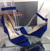 NEW PRADA Blue Suede Ankle-Strap Wedge Sandal (Size 35) - MSRP $590.00 - $249.95