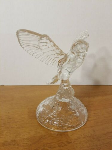 CRISTAL DE FRANCE GORGEOUS OWL IN FLIGHT CRYSTAL FIGURINE