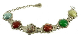 VINTAGE MIRACLE ART GLASS OIL SPOT COLOR CABS BRACELET CELTIC DESIGN 7.5... - $67.49