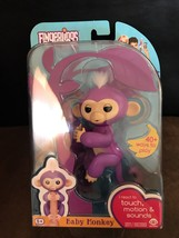 WowWee Fingerlings Interactive Baby Monkey Mia Purple with White Hair NEW - $36.62