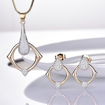 Passionate Women Sapphire Crystal Two Gold Tone Earrings Pendant Necklace Set image 1