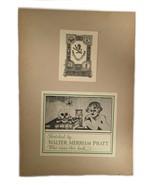 Ex Libris Book Plate Exlibris Sketched Mayflower Skull Walter Pratt - $49.49