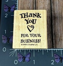 Stampin' Up! Thank You For Your Business! Heart Rubber Stamp 1999 Wood #X1 - $2.72