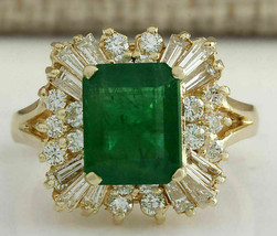 3.82 Ct Emerald Cut Green Emerald & Diamond 14K Yellow Gold Finish Weddi... - $95.55