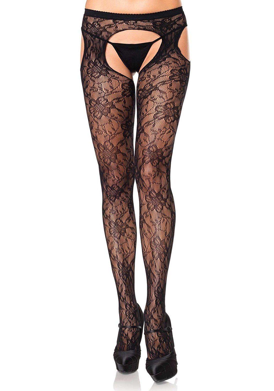 Leg Avenue Women's Sexy Gardenia Lace Suspender Pantyhose Tights Lingerie O/S - $8.83