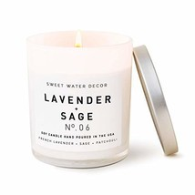Sweet Water Decor Lavender and Sage Scented Soy Wax Candle for Home | 11oz White