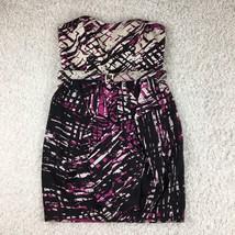 Jessica Simpson Sheath Dress Women 8 Black Purple White Strapless Geomet... - £21.36 GBP