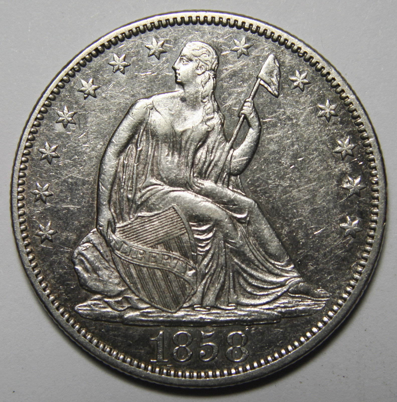 1858 Seated Silver Liberty Half Dollar 50¢ Coin Lot# MZ 3916