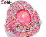Large fire opal finger rings silver plated hot pink ring with round stone cocktail thumb155 crop