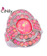 Luxury Large Fire Opal Finger Rings Silver Plated Hot Pink Ring With Rou... - $30.86