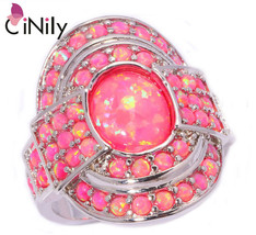 Xury large fire opal finger rings silver plated hot pink ring with round stone cocktail thumb200
