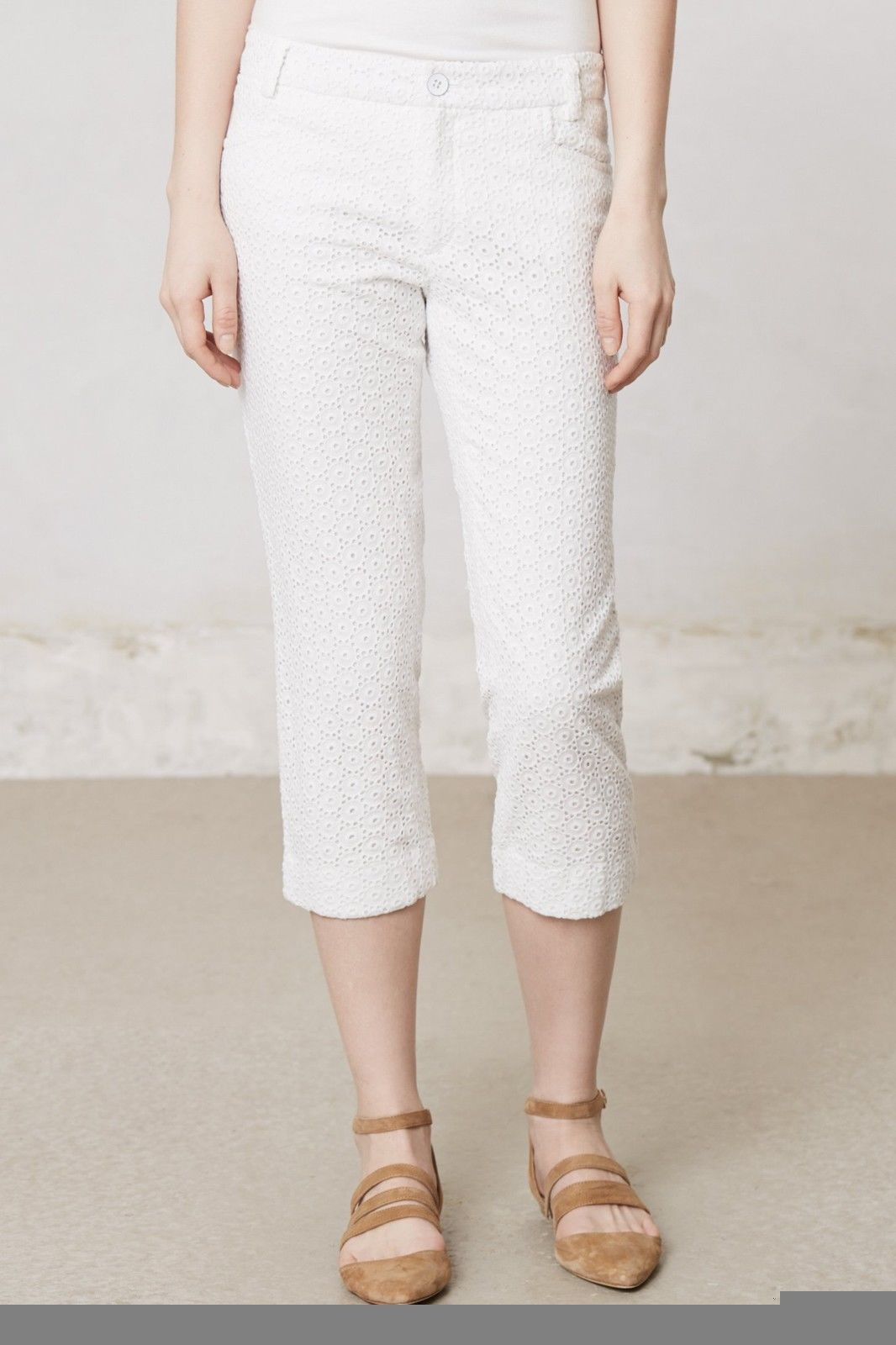 NWT ANTHROPOLOGIE CHARLIE CROPPED EYELET WHITE CROPS PANTS by CARTONNIER 4 - $55.24