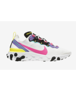 New Nike React Element 55 Men's White Pink Black Purple CK0846 100 Size 9.5 - $119.99