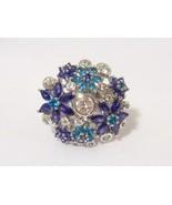 Vintage Modernist Sterling Silver Mix Gemstone Flower Adjustable Ring Si... - $115.00