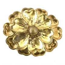 Gold Colored Brass Metal Brooch Pin, Floral, 52mm - $20.00