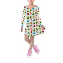 Christmas Emojis Girls Velvet Winter Dress - $53.99+