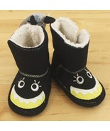 NWT Stepping Stones Black Halloween Monster Fur Lined Baby Boots 3-6 mos... - $7.95