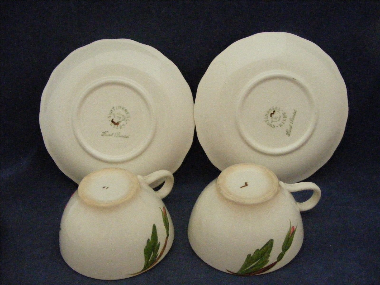 2 Continental Kilns Green Arbor Pink Magnolia Cups & Saucers Hand Painted