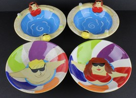 Clay Art Eating Cereal Bowls Pool Fun Jacuzzi Summer Fun Set of 4 - $17.82
