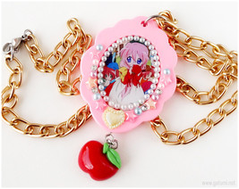 Lucky Star Miyuki Anime Necklace, Pink Pendant, Gold Chain, OOAK, Snow W... - $19.00