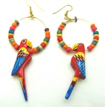 Vintage Red Scarlett Macaw Parrot Earrings Hand Crafted Painted Wooden - $15.15