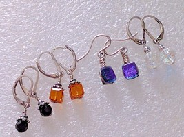 4 VINTAGE STERLING SILVER EARRINGS CRYSTAL ART GLASS 925 LOT - $31.18
