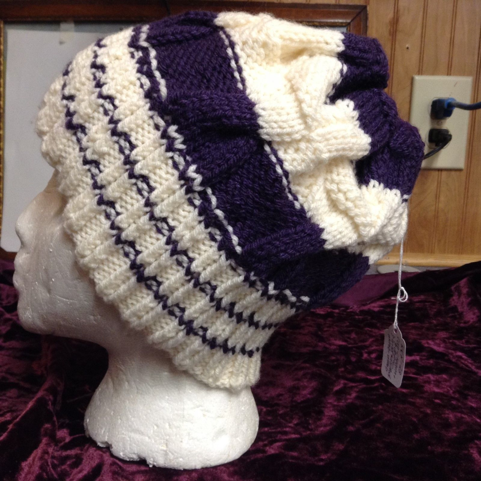 NEW Hand-knitted Purple and Cream Wool Beanie