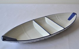 """CERAMIC Boat Shaped PLATE #4 Asian Blue White PLATTER 14.5""""x5.5"""" MICROWAVE - $28.04"""