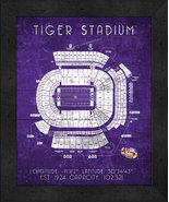 "LSU Tiger ""Retro"" Stadium Seating Chart 13 x 16 Framed Print  - $39.95"