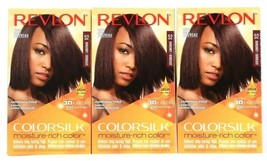 3 Ct Revlon Colorsilk Moisture Rich 52 Burgundy 3D Color Gel Permanent Hair Dye - $29.99