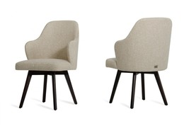 VIG A&X Caligari Oak Off-White Fabric Dining Chair (Set of 2)